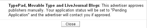 Commission Junction Advertiser Approval Message