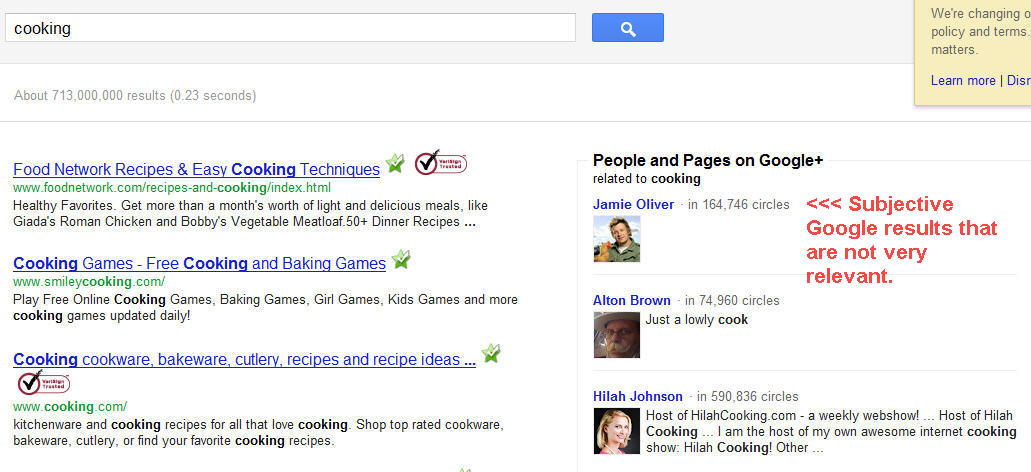 Google search plus world example
