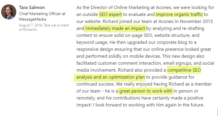 seo-testimonial-linkedin-richard-cummings-tara